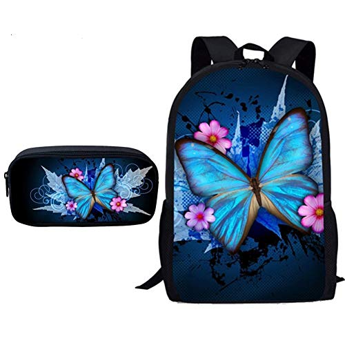 HPADR Kinderrucksack 2pcs/Set School Bags for Teenager Girls Boys Butterfly Printing Kids Fashion Backpack Set pro - Pro Vans-lo Kleinkind