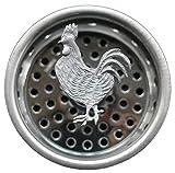 La elegante fregadero colador–decorativo peltre Top–Gallo ~ acero inoxidable cesta con tapón, tapones de cepas y cualquier estándar cocina drenaje (3,25