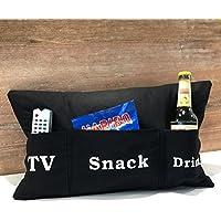 Sofakissen schwarz mit Taschen 50x30 cm | Kissen mit Bierhalter (TV, Snack, Drink) Kuschelkissen | Handarbeit