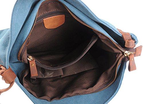 Minetom Damen Herren Unisex Retro Canvas Tasche Rindleder Dekor Literarischen Hochschule Stil Schultertasche Messenger Bag Weiß