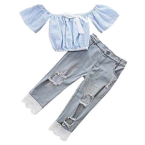 Scfel 2 pezzi outfit toddler bambino ragazze striscia off spalla cime + buco jeans pantaloni estate set di vestiti per 0-5 anni (blu, 1-2 anni)