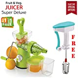#9: Bagonia | Special Offer | Ankur Super Deluxe Manual Hand Fruit & Vegetable Juicer With Free Manual Hand Blender For Egg & Cream Beater, Milkshake Lassi, Butter Milk (Color May be Very) (Buy 1 Get Hand Blender Free)