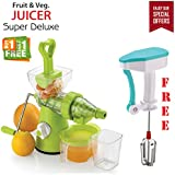 [Sponsored]Bagonia | Special Offer | Ankur Super Deluxe Manual Hand Fruit & Vegetable Juicer With Free Manual Hand Blender For Egg & Cream Beater, Milkshake Lassi, Butter Milk (Color May Be Very) (Buy 1 Get 1 Free Offer)