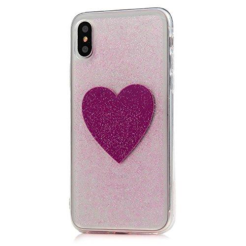 iPhone X Cover, Silicone e Bling Glitter Brillanti, Custodia Morbida TPU Flessibile Gomma - MAXFE.CO Case Ultra Sottile Cassa Protettiva per iPhone X - Torre Cuore