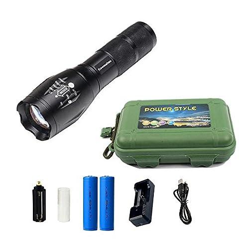 Coomatec SD-100 Kit Ultra Puissante 900 Lumens Lampe de Torche Militaire Poche LED rechargeable Zoom Flashlight 18650 Chargeur, Cadeau Fête de Pères