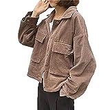 YOUMU Frauen Vintage Oversize Cord Blazer Jacke Lose Retro Mantel (Pink, M)