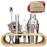 Premium Bartender Cocktail-Shaker-Set, 10-teiliges Mixologie-Set mit umweltfreundlichem Bambus-Ständer, skandinavischer Stil, Heimgarnitur, Cocktail-Shaker-Set, britische Marke -