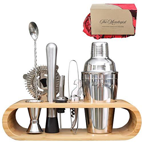 Premium Bartender Cocktail-Shaker-Set, 10-teiliges Mixologie-Set mit umweltfreundlichem Bambus-Ständer, skandinavischer Stil, Heimgarnitur, Cocktail-Shaker-Set, britische Marke
