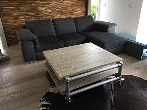 Couchtisch, LOFT-Tisch, Designer-Tisch, rollbar im Industrie-Design, Aluminium mit Massivholz