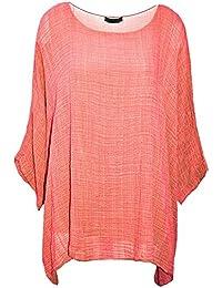 Damen-Frauen Italian Cotton Plain Loose Fit Batwing Lagenlook Kimono Top Kleid Insert Vest Top One Size Plus-36-50