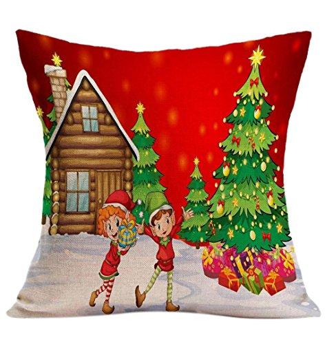 Weihnachten Kissenbezug ❄ZEZKT-Home❄Geschenk Baum Schneemann Weihnachtsmann Rentier Geschenk Bell (1PC, (Dekor Tumblr Halloween)