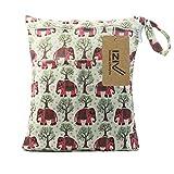 iZiv(TM) Bebé Reutilizable Impermeabilizan Mojado y Seco Bolsa de Pañales del Bebé Bolsa 2 Cremallera Impresión en Bolsa(Elefante)