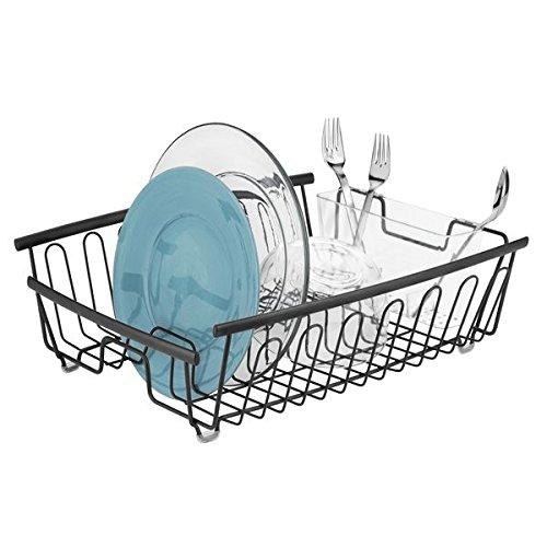mDesign support à vaisselle en métal – panier égouttoir inoxydable pour assiettes et plats – égouttoir design avec porte-couverts à 11 fentes pour la cuisine et le plan de travail – noir-mat