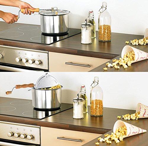 Rosenstein & Söhne Retro Popcorn-Topf mit Kurbel - 4