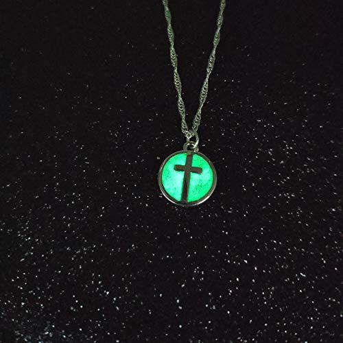 XLLJA Damen Anhänger,Rundes Kreuz leuchtende Anhänger Halskette, Schlüsselbein Kette @ Green_Light