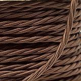 Cable flexible trenzado para iluminación (cubierto de tela, 0,5mm, 3Núcleos), color marrón