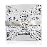 HOSMSUA 20 x Einladungskarten Für Hochzeit Geburtstag Taufe Weiß Blumen Lasercut Design Mit Schleife Set 20 Stücke inkl Umschläge und Aufkleber (20 Stück Set)