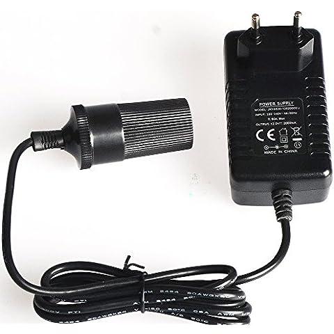 Racksoy–220–240V a 12V 2A tensione convertitore elettrico di alimentazione convertitore cambio di alimentazione caricatore adattatore accendisigari auto Adattatore spina EU