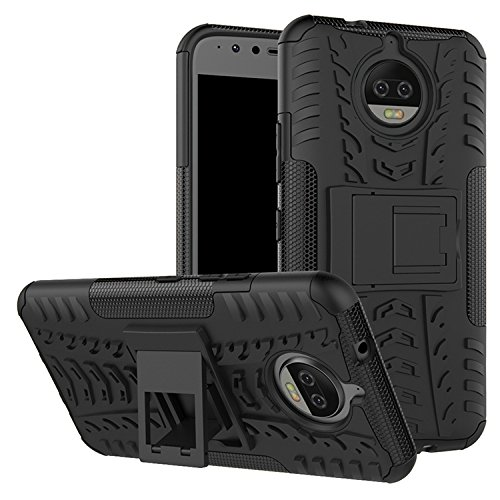 "CASSIEY Heavy Duty Shockproof Military Grade Armor Dual Protection Layer Hybrid Kick stand Back Cover Case for Motorola Moto G5S Plus 5.5 "" - Black"
