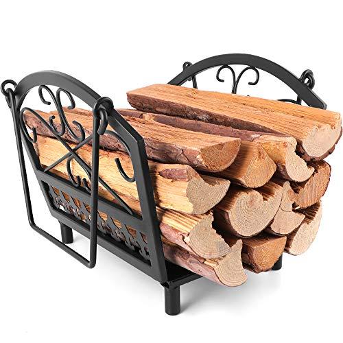 Amagabeli Portalegna Per Camino 36 x 32 x 31.5 Cesto Porta legna da Camino Legno Cestino con Manici Portalegna per Legna da ardere Porta Legna