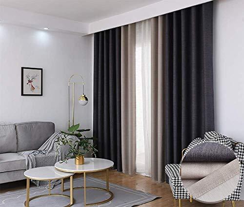 LJWLZFN Einfache Dicke Doppelschicht Leinen Vorhänge Wohnzimmer Schlafzimmer Schatten Technik Vorhänge Hause Wohnzimmer dekorative Vorhänge 168cmx229cm (B x H) 2 Platten Schwarz beige -