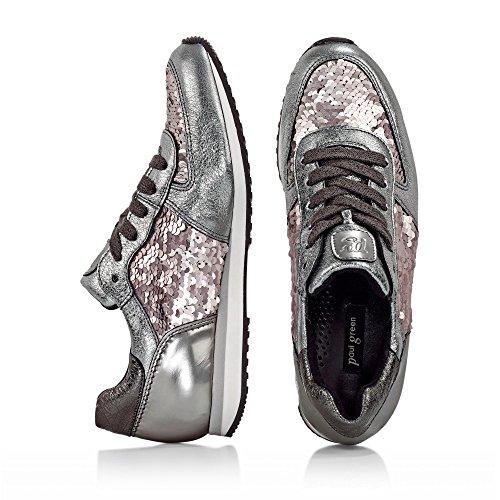 Paul Green 4224-098 Damen Sneaker Aus Hochwertigem Glattleder Paillettenbesatz Silber