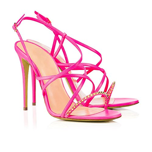 SONGYUNYANRomain vent sangle rivet main Mesdames robe sandales Pink