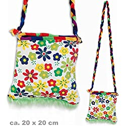 Hippie Tasche Flower Power mit Zipper Umhängetasche Schultertasche ca. 20 x 20 cm Retro - Look Accessoires