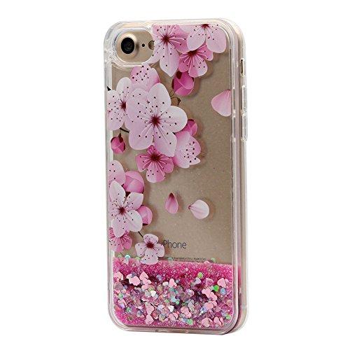 Keyihan iPhone 7/8 Custodia per Ragazza, Stile Rosa Carina Bello Disegno Flowing Liquido Scintillio Sabbie Mobili Protettiva Cover Caso per Apple iPhone 7/8 (Grande Fiore di ciliegio 1#)