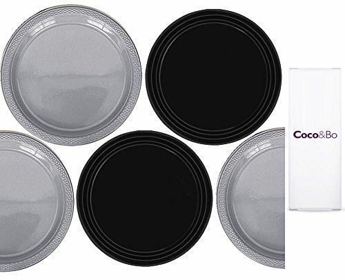 Preisvergleich Produktbild 5x Coco & Bo–Star Wars Thema–Silber und Schwarz Kunststoff Party Teller–22,9cm breit und aus wiederverwendbar Kunststoff–Tischdekorationen & Cake Zubehör
