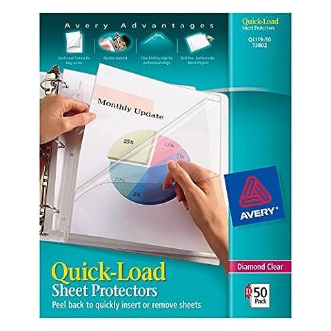 Avery Diamond Clear Quick-Load Sheet Protectors, Acid Free, Box of 50 (73802)