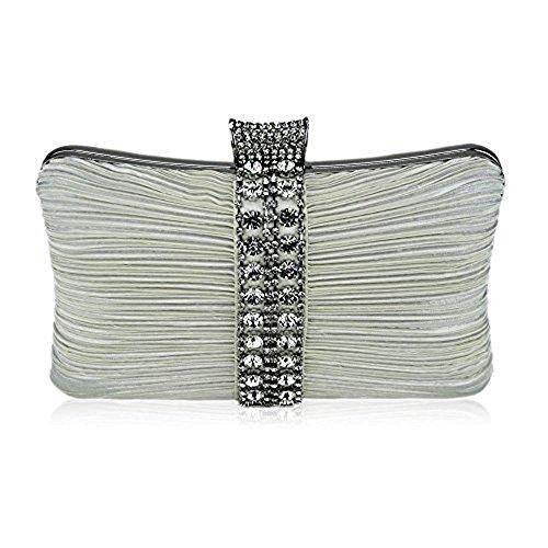 TrendStar Frauen Elfenbein Handtasche Handtasche Damen Diamante Kristallparteihoch prom clutch bag Elfenbein 3