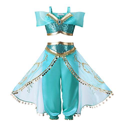 Pettigirl Ragazze lustrino Principessa Costume attrezzatura (150, blu)