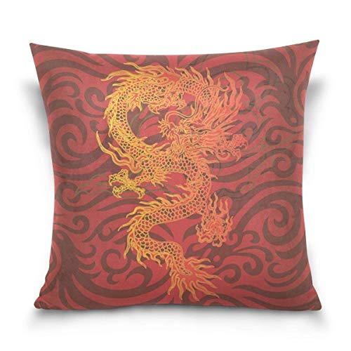 Klotr federe cuscino divano, cool traditional chinese dragon decorative square throw pillow case cushion cover for sofa bedroom car double-sided design 18 x 18 inch