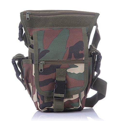 Yumqua Tactical waist gamba borsa, da uomo militare tela all' aperto bici ciclismo multiuso Drop Leg Pack Jungle Camouflage