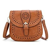 DCCN Women's Shoulder Bag PU Leather Crossbody Bag (Brown)