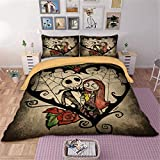 WONGS BEDDING Disney Nightmare Before Christmas Set da Letto 3Pcs Set trapuntino Diable con 2 federe per Halloween Double Size per Adulti e Ragazzi Double Size 200 * 200cm