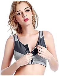 Wuiyepo Sexy Femme Brassiere Soutien-Gorge de Sport Push Up Zippé Rembourre Sans Armature Underwear Bra