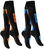 2 Paar Original VCA® SKI Funktionssocken, Wintersport Socken mit Spezial Polsterung (39/42, blau/orange)