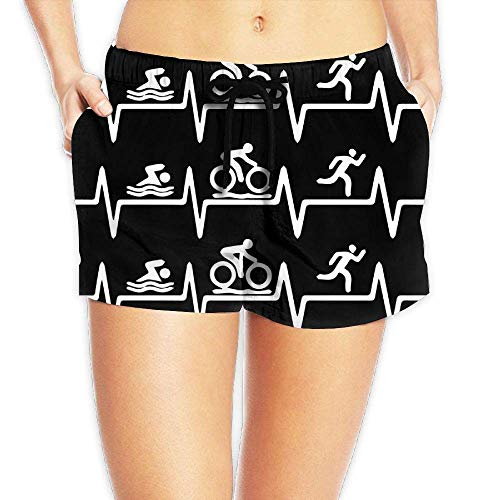 Hwgss Triathlon Heartbeat1 Women's Lightweight Board/Beach Shorts Summer Casual Bathing Suit with Pockets(S) - Oakley Lightweight Shorts