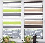 Garduna FIX Duo-Doppel-Rollo #grün/weiss/grau 90cm# 3-farbig - Smartfix - Klemmfix - ohne bohren - viele Farben & Größen - Sichtschutz - lichtdurchlässig