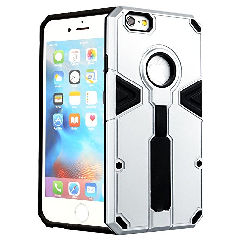 Coque iPhone 6 iPhone 6S holster cas fogeek slim dual layer pC coque en tPU avec grip support avec dragonne pour iPhone 6/6S argent