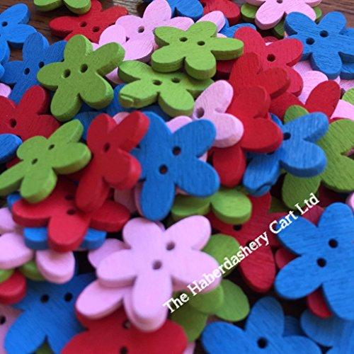 11 mm et 15 mm Red Daisy en forme de Fleur Boutons En Assortiment Pack Tailles