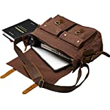 Laptop Bag 14.5 inch Mens Vintage Casual Canvas Messenger Bag Mens Military Leather Canvas Travel Briefcase Crossbody Satchel Shoulder School Bag for Notebook Laptop (Coffe)