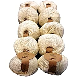Hilo de cáñamo de lana color crema beige para Macramé