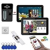 """Xianxian88 Campanello Senza Fili Video, 9""""2 Monitor cablato/Wireless, videocitofono videotelefono, 1000TVL Wired IR-Cut Fotocamera per Villa, casa, Campanello d'ufficio"""