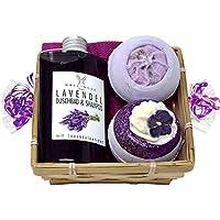Wellness Geschenkset 5 tlg. SPA Lavendel Duschgel und Shampoo, 2 x Badebombe, Seifttuch 30x30 cm im Geschenkkorb preisvergleich bei billige-tabletten.eu