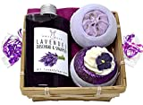 Wellness Geschenkset 5 tlg. SPA Lavendel Duschgel und Shampoo, 2 x Badebombe, Seifttuch 30x30 cm im...