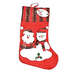 Gifts 4 All Occasions Limited SHATCHI-956 - Calcetín de Navidad con diseño de muñeco de nieve y Papá Noel, multicolor