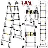 Meditool 3.8M Escalera Plegable,Escalera Telescópica de Aluminio(1,9M + 1,9M),Escalera Extensible,13 Escalones Antideslizantes,Capacidad de 150kg